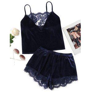 Intimates & Sleepwear - Lace Trim Velvet Pajama Set